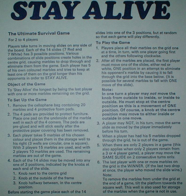 Stay Alive Rules