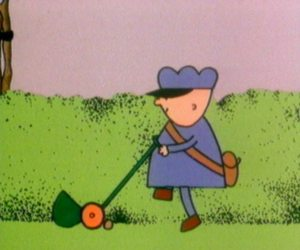 Frank the Postman is busy mowing his lawn
