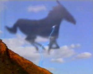 The horse runs away from him and lightening follows
