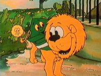 Greenie chats to the lion